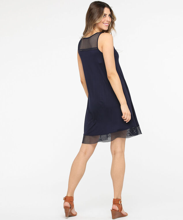 Mesh Trim Zip Front Sundress, Summer Navy, hi-res