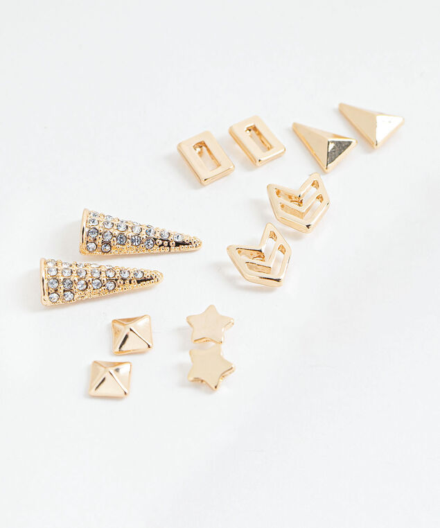 Gold Stud Earring 6-Pack, Gold