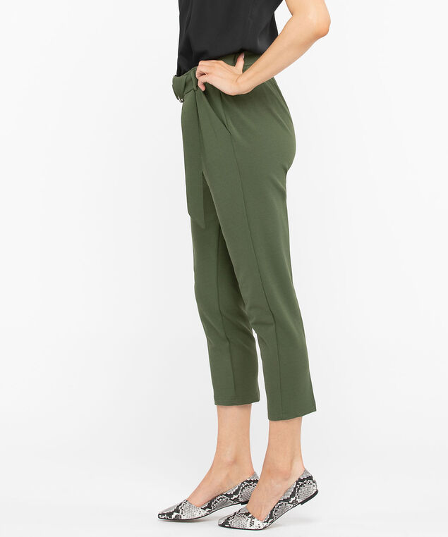 Pleat Front Tapered Ankle Pant, Moss, hi-res