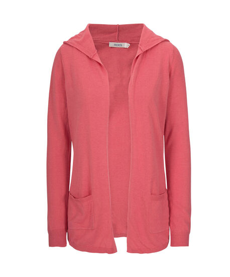 Hooded Open Cardigan, Coral, hi-res