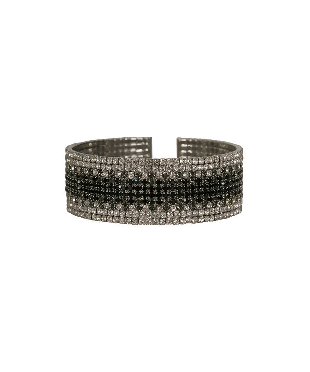Ombre Pave Cuff, Black/Grey/Clear, hi-res