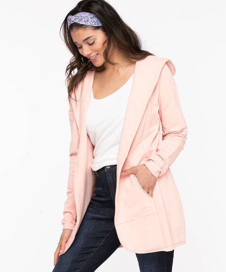 French Terry Hooded Cover-Up, Rose Smoke, hi-res