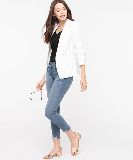 White Stripe Ruched Sleeve Blazer, White Pattern, hi-res