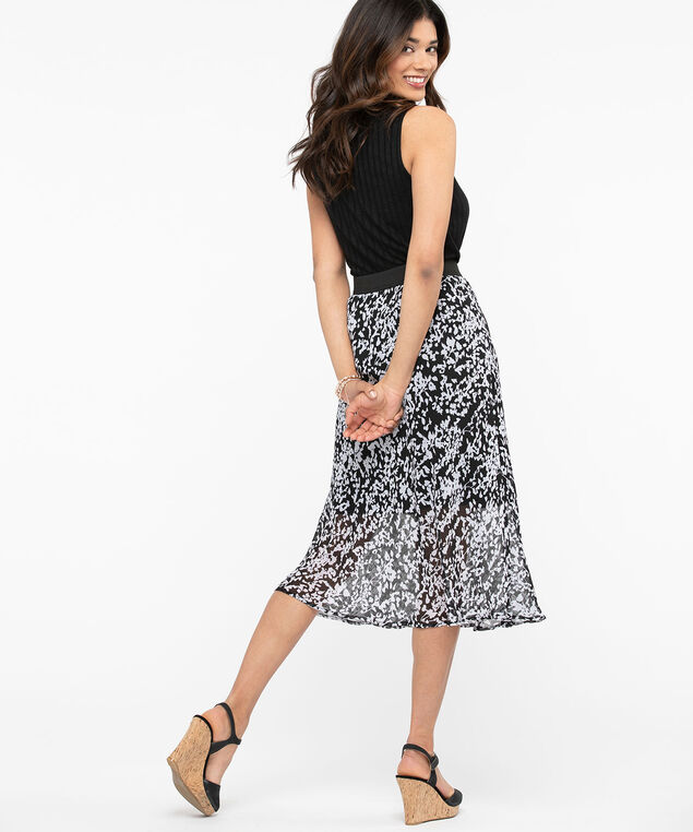 Bias Cut Midi Skirt, Black/Pearl, hi-res