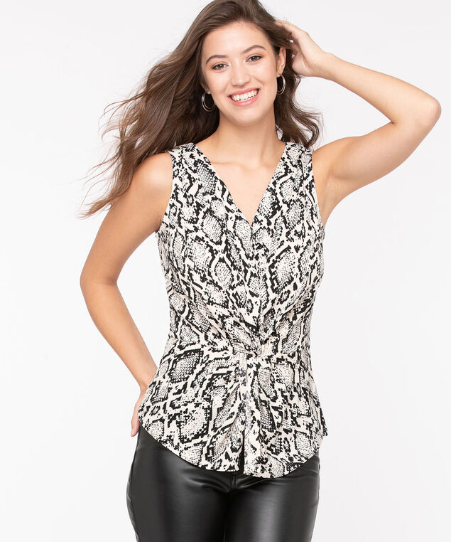 Python Print Knot Front Top, Black/Ivory