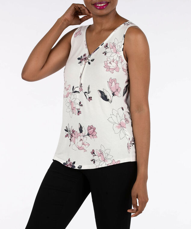 Sleeveless Zipper Front Tank, Pearl/Petal Pink/Dusty Pink, hi-res