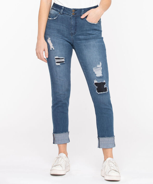 Rip & Repair Slim Straight Jean, Mid Wash
