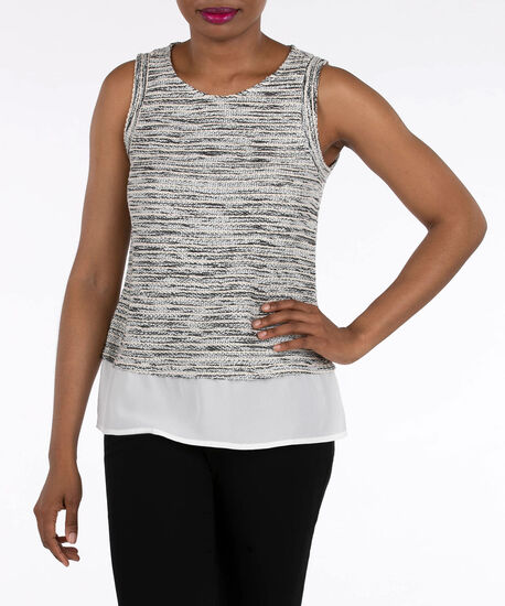 Sleeveless Textured Knit Fooler Top, Heathered Charcoal/Pearl, hi-res