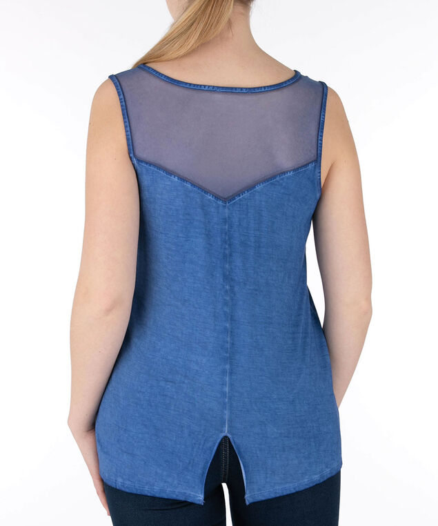 Indigo Mesh Insert Sleeveless Top, Indigo, hi-res