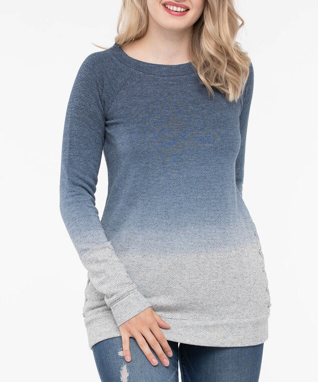 Ombre Lace Up Detail Top, Inky Blue/Light Heather Grey, hi-res