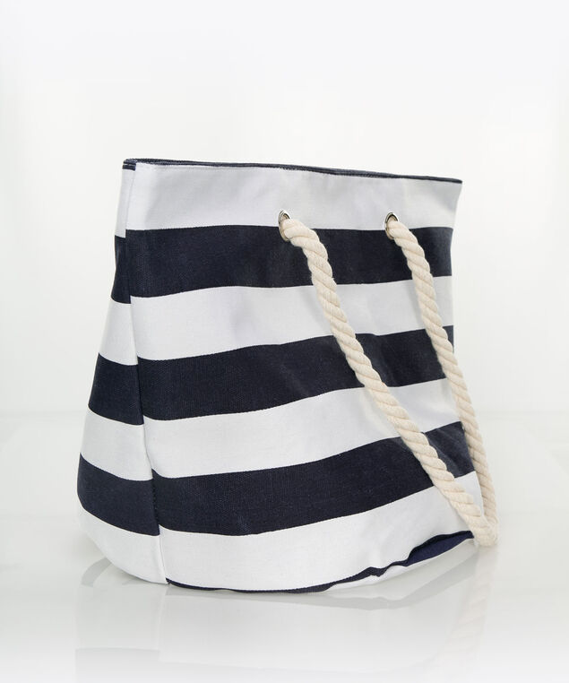 Navy Stripe Beach Tote, Navy/Milkshake, hi-res