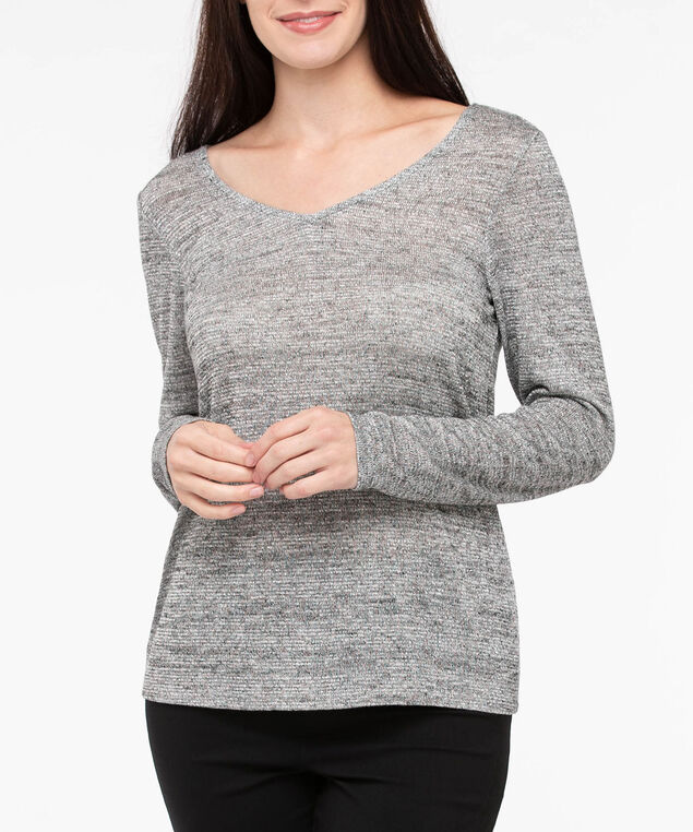 Long Sleeve Tie Back Top, Light Heather Grey, hi-res
