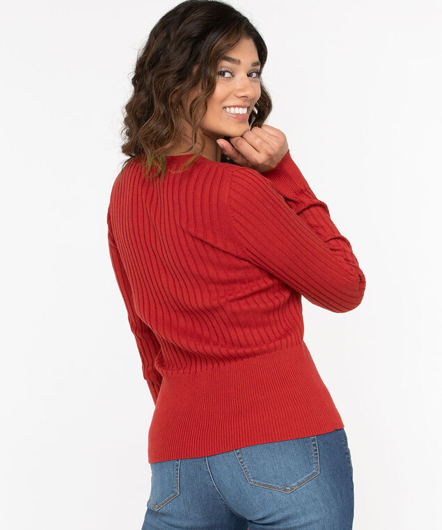 Ribbed Henley Pullover Sweater, Roasted Beet, hi-res