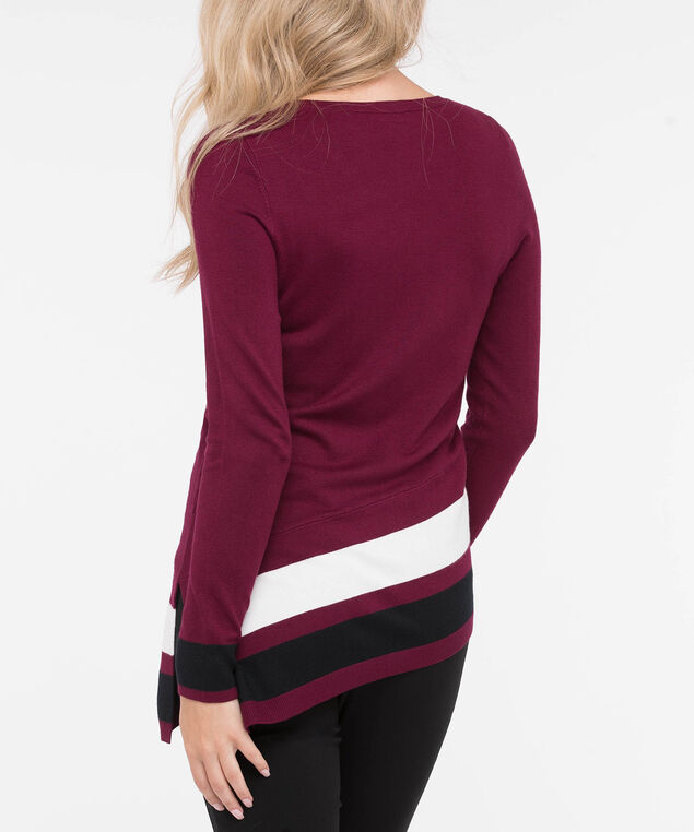 Asymmetrical V-Neck Pullover Sweater, Burgundy/Pearl/Black, hi-res