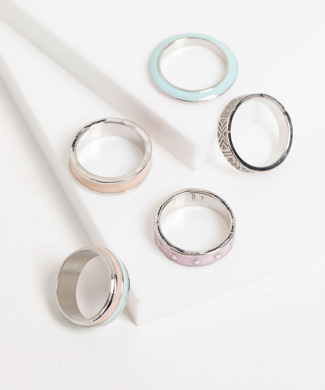 Pastel Silver Stackable Ring 5-Pack, Pink/Peach/Mint/Silver