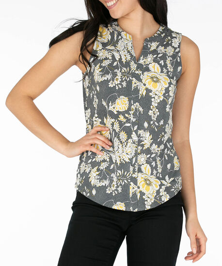 Puff Print Sleeveless Henley Top, Yellow/Pearl/Black, hi-res