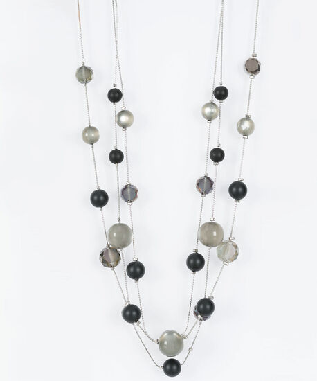 Beaded Multi Row Statement Necklace, Rhodium/Black/Mid Heathered Grey, hi-res