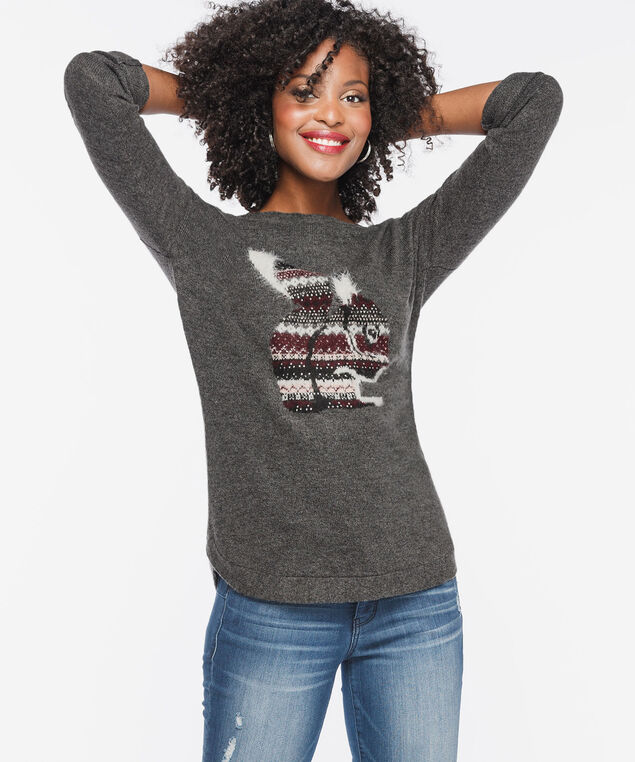 Patterned Squirrel Boatneck Sweater, Mid Heather Charcoal, hi-res