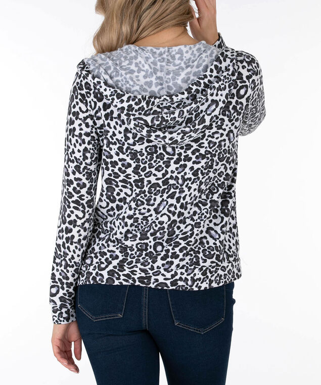 Animal Print Zipper Front Hoodie, Black/White/Purple, hi-res