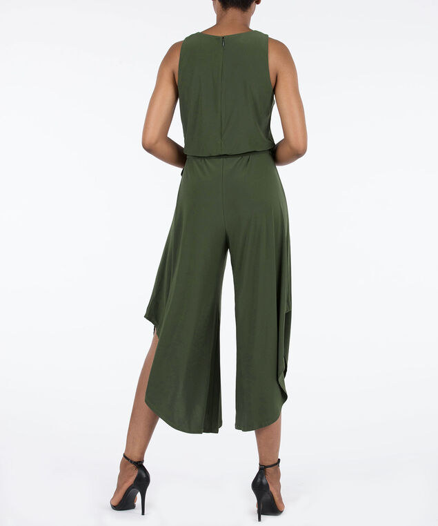 Sleeveless Belted Jumpsuit, Autumn Olive, hi-res
