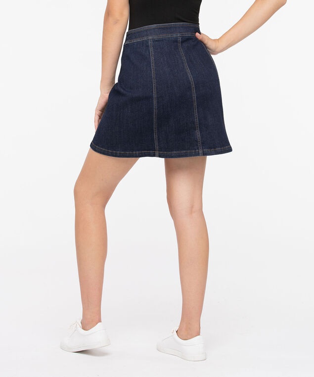 Button Front Denim Skirt, Dark Blue, hi-res