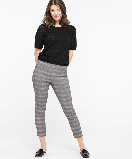Microtwill Plaid Pull On Crop , Black/Grey/Cognac, hi-res