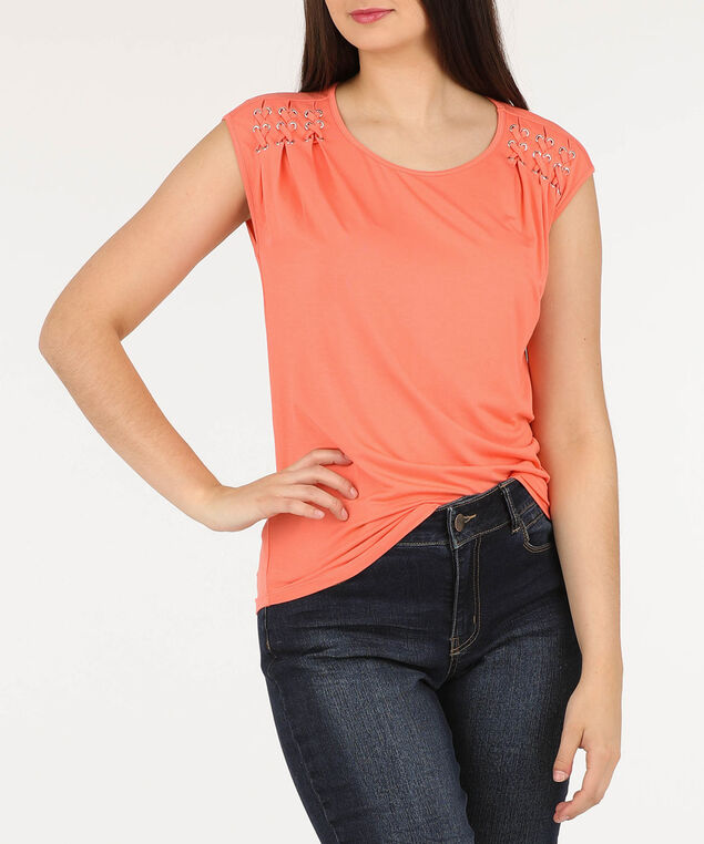 Pleated Cross-Lace Detail Top, Tangerine, hi-res