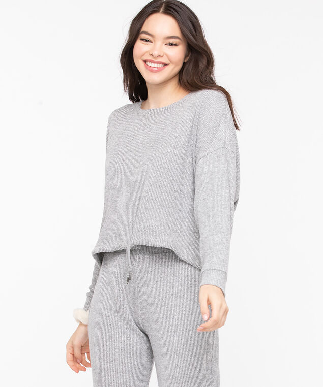 Cozy Ribbed Dolman Sleeve Top, Light Grey, hi-res