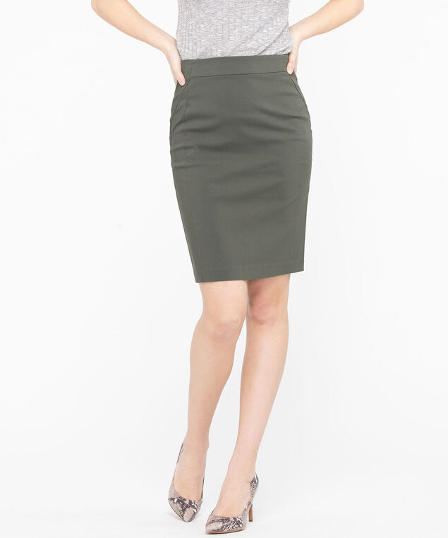 Microtwill Pull on Pencil Skirt , Basil, hi-res