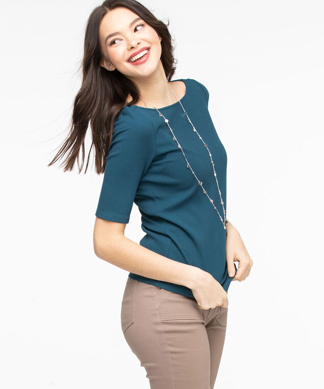 Ribbed Elbow Sleeve Top, Reef Waters
