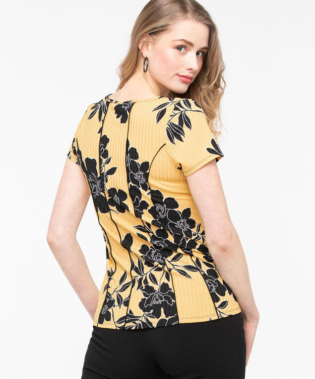 Short Sleeve Seamed Peplum Top, Gold/Black, hi-res