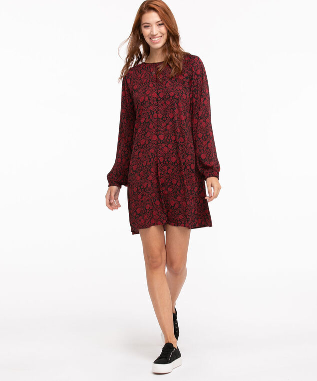 Tie Waist Ruched Neck Dress, Black/Red Ditsy Floral