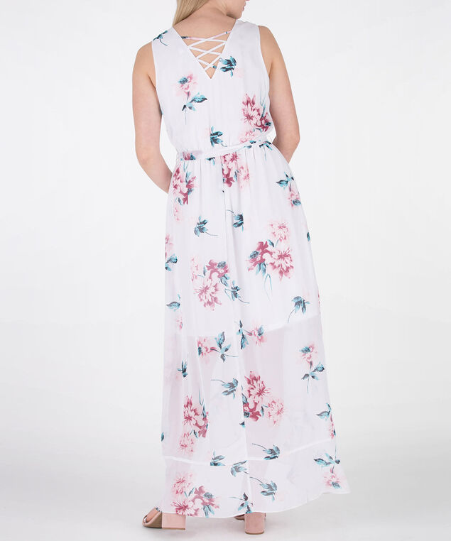 Ruffle Front Cross-Back Dress, White/Pink/Blue, hi-res