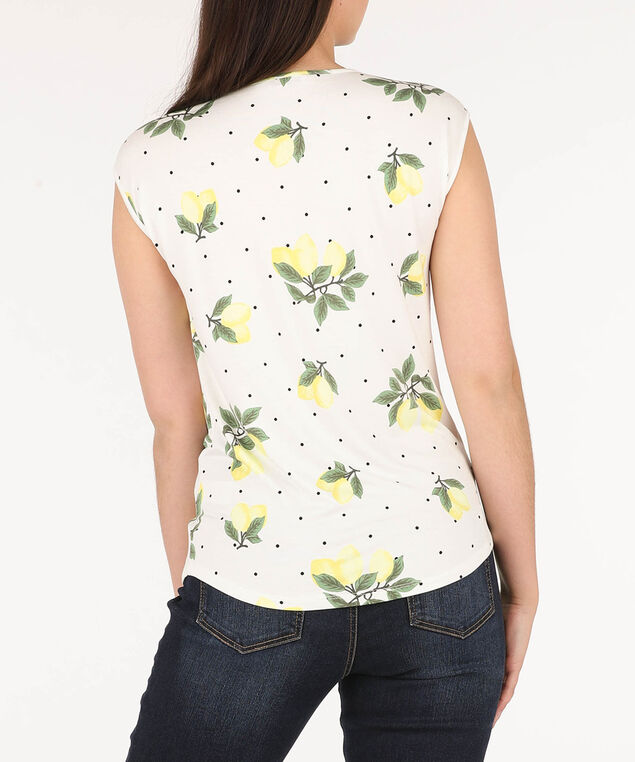Pleated Cross-Lace Detail Top, Yellow/White/Green, hi-res