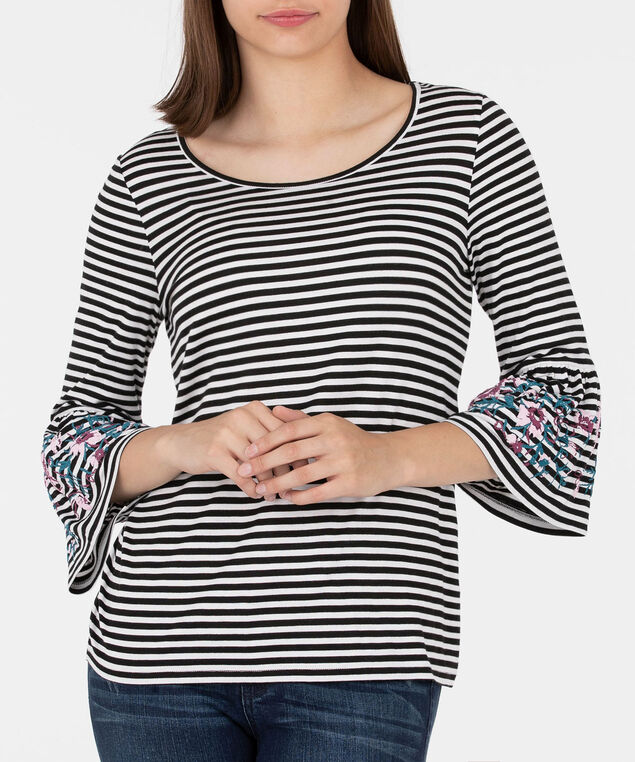Striped Flounce Sleeve Knit Top, Pearl/Black, hi-res