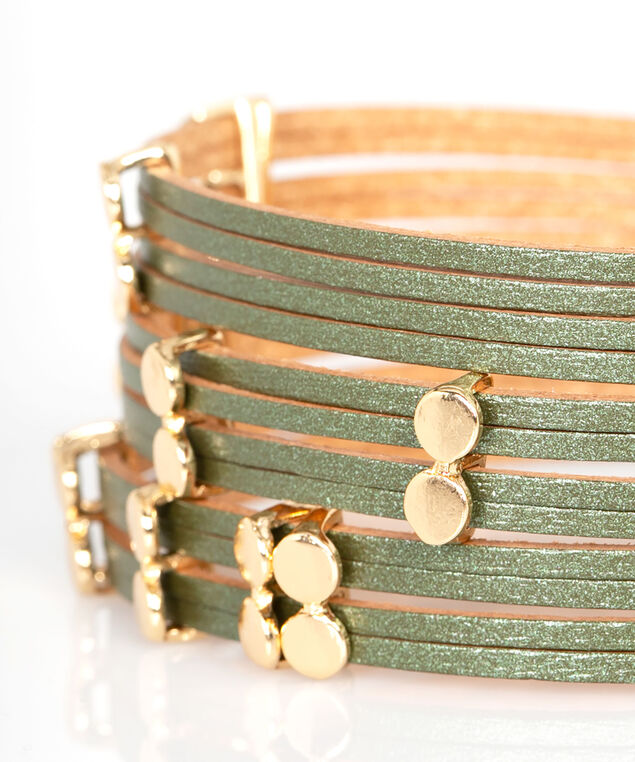 Smooth Studded Wrap Bracelet, Sage/Gold, hi-res
