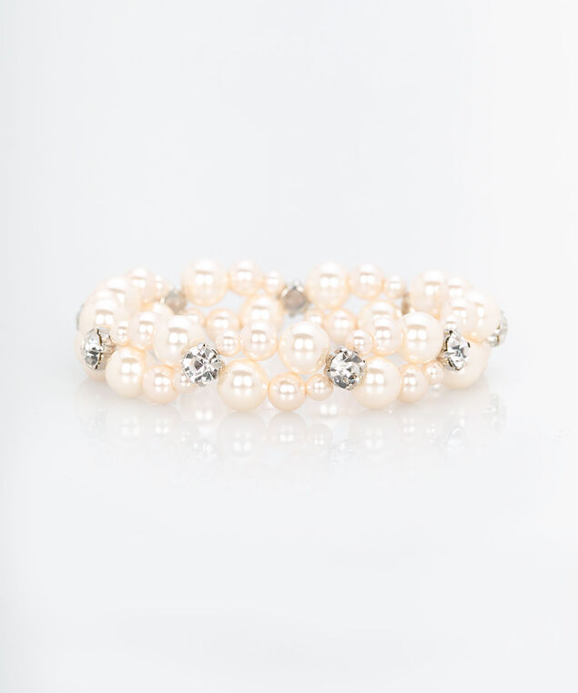 Pearl & Crystal Stretch Bracelet, Rose Petal/Rhodium