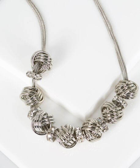 Knotted Metal & Crystal Statement Necklace, Rhodium, hi-res
