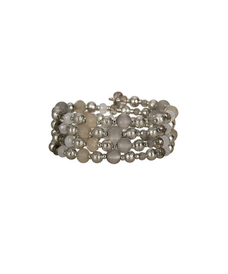Beaded Coil Bracelet, Grey/Rhodium, hi-res