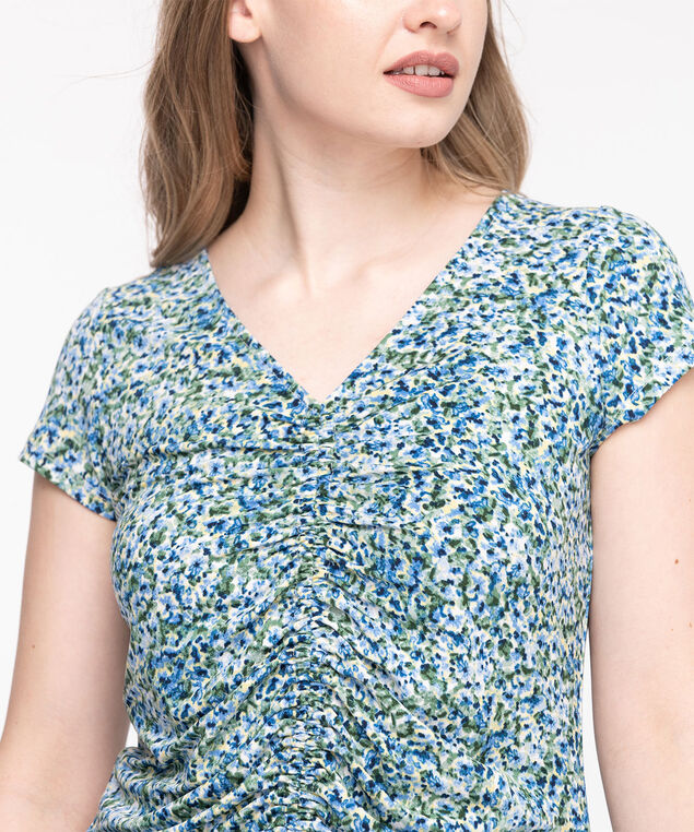 V-Neck Ruched Front Top, Green/Blue/Yellow