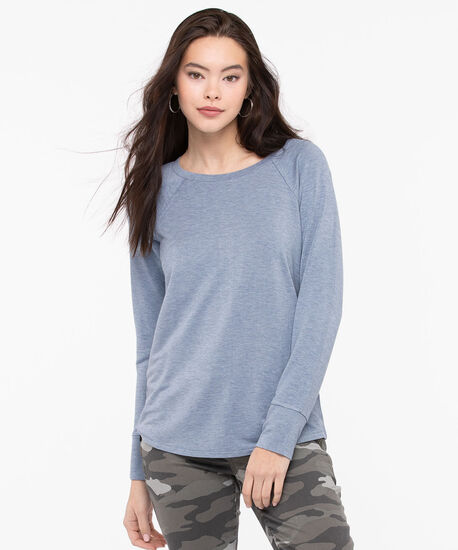 Long Sleeve Button Back Top, Soft Blue, hi-res