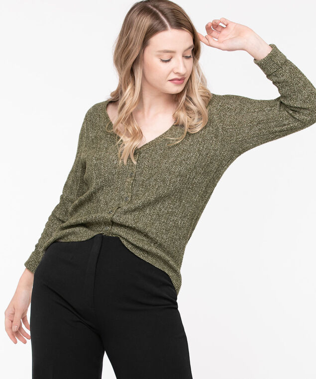 V-Neck Button Front Cardigan, Olive