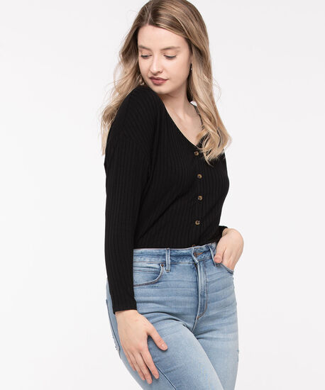 Ribbed Button Front Long Top, Black, hi-res