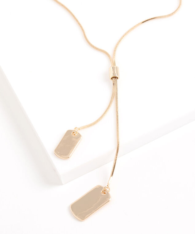 Dog Tag Chain Necklace, Gold