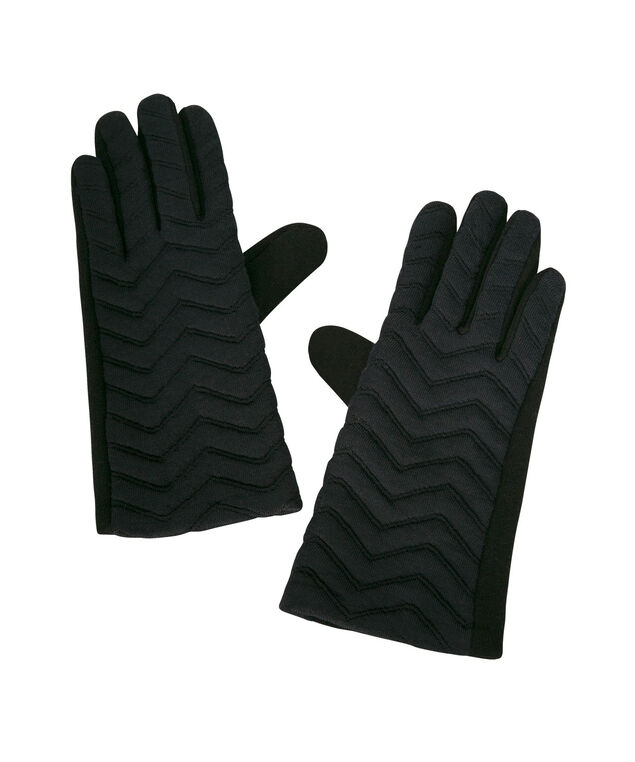 Quilted Chevron Texting Glove, Navy, hi-res