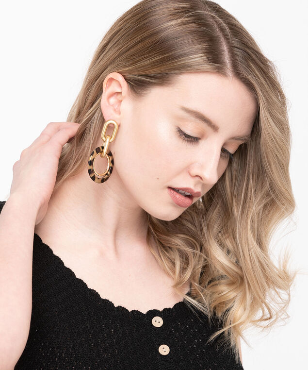 Linked Chain & Resin Hoop Earring, Gold/Praline, hi-res
