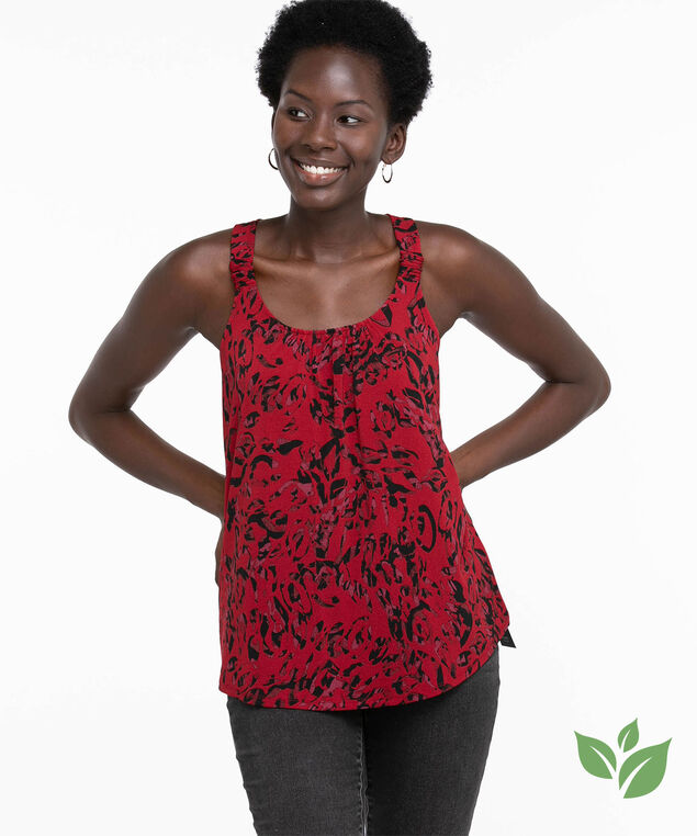 Eco-Friendly Ruched Strap Tank Top, Red Leopard Print