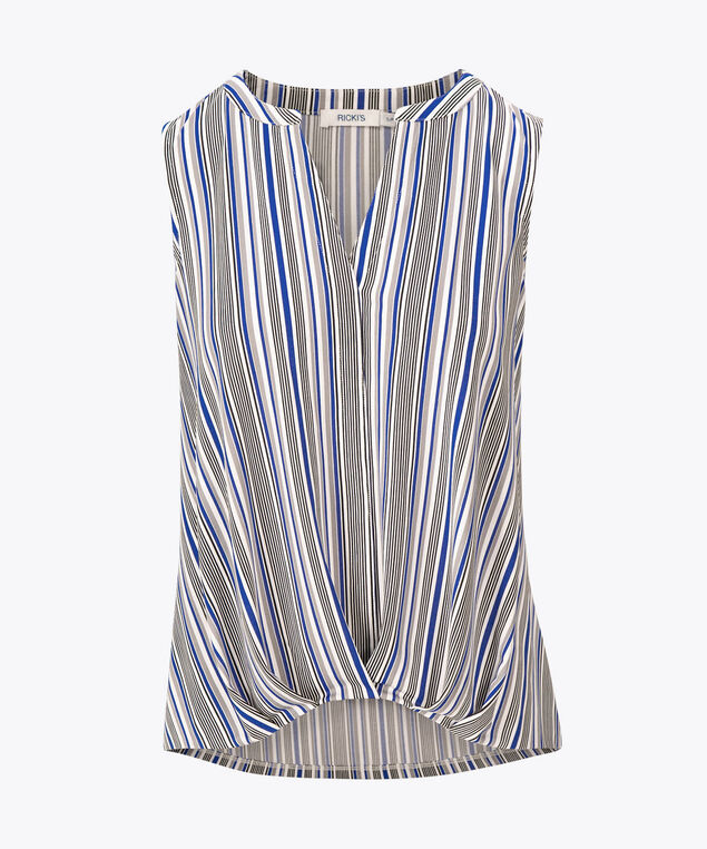 Pleated Bubble Hem Sleeveless Top, Blue/Pearl/Black, hi-res