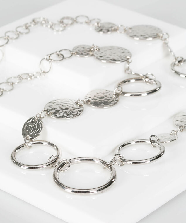 Hammered Disc & Ring Necklace, Rhodium, hi-res