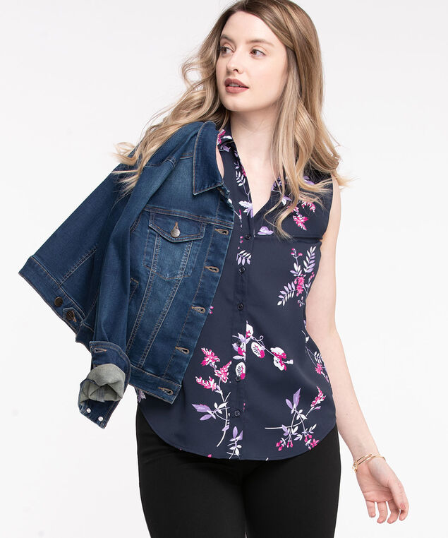 Sleeveless Collared Button Front Blouse, Navy Floral